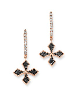 Bloomingdale's - Black & White Diamond Cross Charm Hoop Earrings in 14K Rose Gold - 100% Exclusive