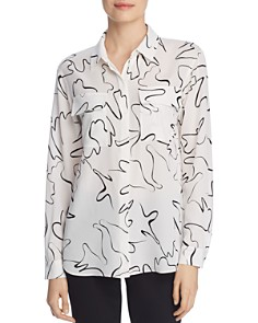 Lafayette 148 New York - Zora Abstract Print Silk Blouse