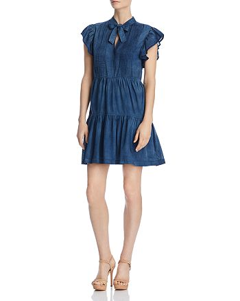 Rebecca Taylor - Pleated Chambray Tie-Neck Dress
