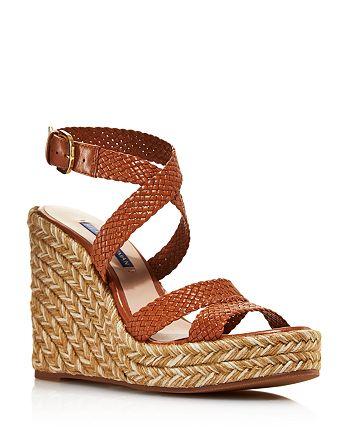 741008d49d1 Stuart Weitzman Women's Elsie Woven Leather Espadrille Wedge Sandals ...