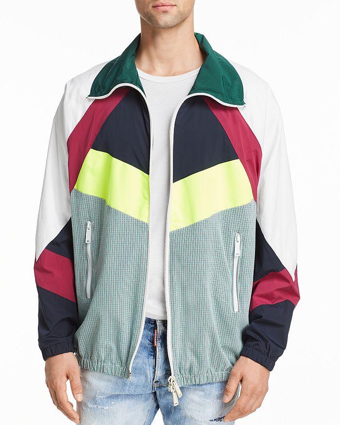 DSQUARED2 - Color-Block Mixed-Media Sports Jacket