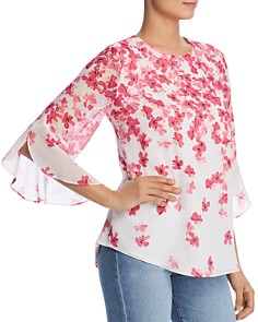 Calvin Klein - Floral Print Ruffle Blouse