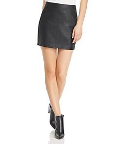 AQUA - Croc-Embossed Faux-Leather Mini Skirt - 100% Exclusive