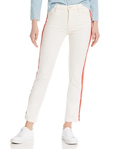 MOTHER - The Dazzler Track Stripe Straight-Leg Jeans in Whipping The Cream Pink Racer