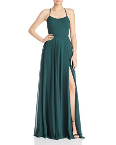 Faviana Couture - Chiffon Lace-Up Back Gown