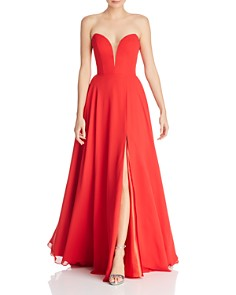 Faviana Couture - Chiffon Plunging Sweetheart Gown