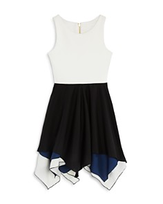AQUA - Girls' Contrast Handkerchief Dress, Big Kid - 100% Exclusive