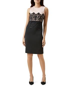 73f1772f3b1 HOBBS LONDON - Seraphina Lace-Trim Sheath Dress ...