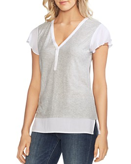 VINCE CAMUTO - Mixed-Media Henley Top