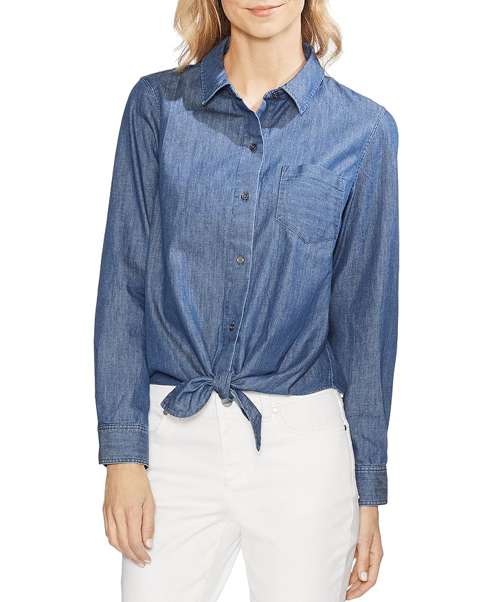 VINCE CAMUTO - Denim Tie-Hem Shirt