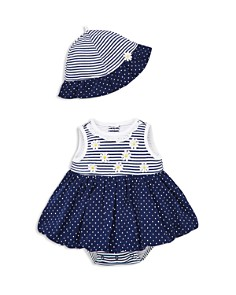 Little Me - Girls' Daisy Bodysuit-Dress & Sun Hat Set - Baby