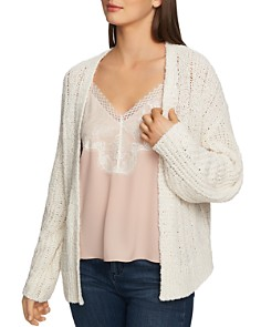 1.STATE - Pointelle Open-Front Cardigan