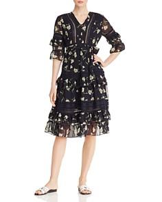 AQUA - Lace-Inset Ruffled Floral Midi Dress - 100% Exclusive