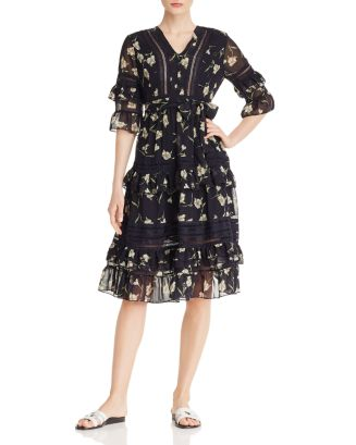 Lace Inset Ruffled Floral Midi Dress   100 Percents Exclusive by Aqua