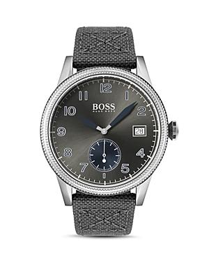 Boss Hugo Boss Legacy Gray Canvas & Leather Strap Watch, 44mm