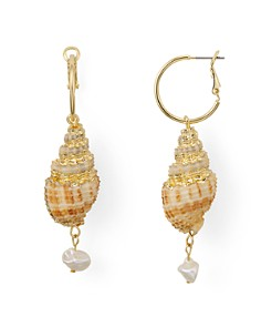 AQUA - Conical Shell & Cultured Freshwater Pearl Drop Earrings - 100% Exclusive