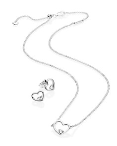 PANDORA - Sterling Silver & Cubic Zirconia Shape of My Heart Necklace & Stud Earrings Gift Set