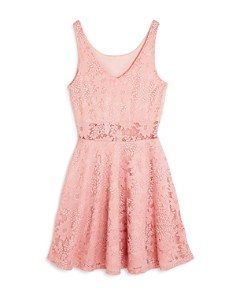 AQUA - Girls' Floral-Lace Fit-and-Flare Dress, Big Kid - 100% Exclusive