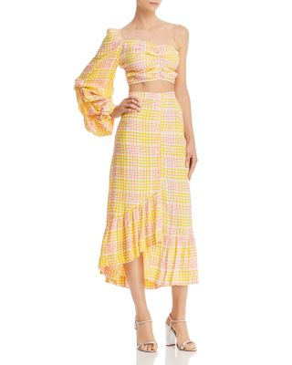 Asymmetric Plaid Midi Skirt