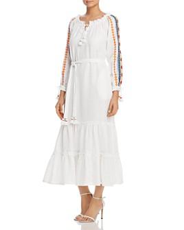 Tory Burch - Embroidered-Sleeve Linen Dress