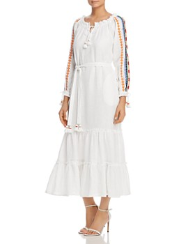 0bf54c4c0580 Tory Burch - Embroidered-Sleeve Linen Dress ...