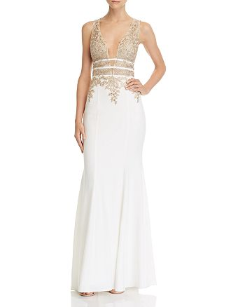 AQUA - Plunging Embellished Gown - 100% Exclusive