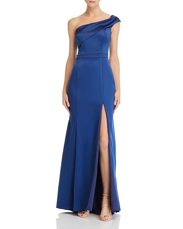 AQUA - One-Shoulder Satin Gown - 100% Exclusive