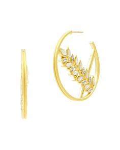 Freida Rothman - Fleur Bloom Floral Hoop Earrings in 14K Gold-Plated & Rhodium-Plated Sterling Silver