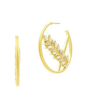 Freida Rothman Accessories FLEUR BLOOM FLORAL HOOP EARRINGS IN 14K GOLD-PLATED & RHODIUM-PLATED STERLING SILVER