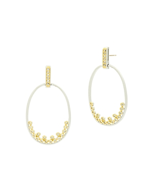 Freida Rothman Fleur Bloom Open Oval Drop Earrings in 14K Gold-Plated & Rhodium-Plated Sterling Silv