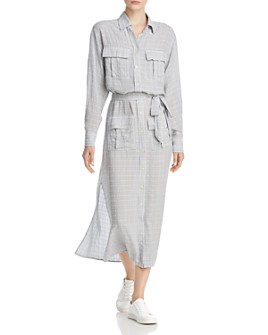 Current/Elliott - The Ana Crosshatch Maxi Shirt Dress