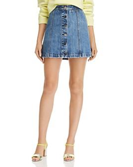rag & bone - Rosie Button-Front Denim Mini Skirt