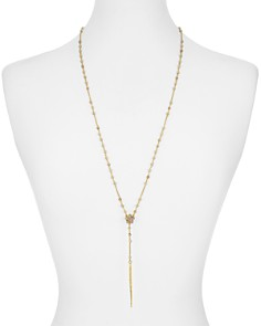 """Chan Luu - Shell & Crystal Lariat Necklace in 18K Gold-Plated Sterling Silver, 32"""""""
