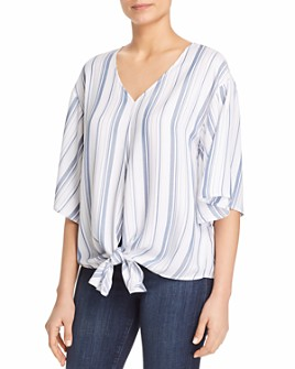 Cupio - Striped Tie Front Top