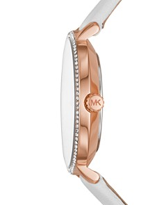 Michael Kors - Pyper White Leather Strap Watch, 38mm