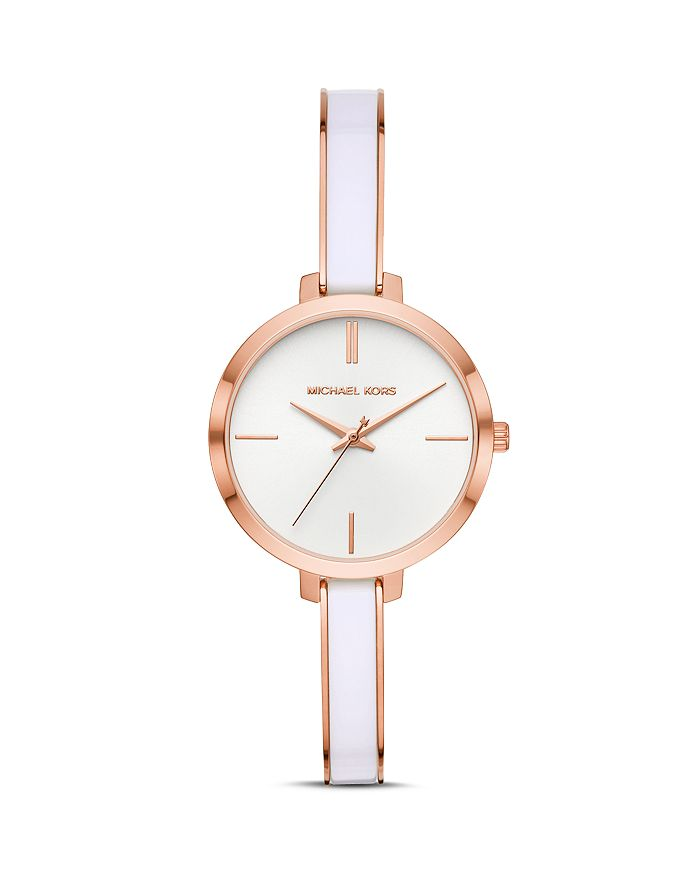 Michael Kors Jaryn White & Rose Gold-Tone Bangle Bracelet Watch, 36Mm In Rose Gold/ White/ Rose Gold
