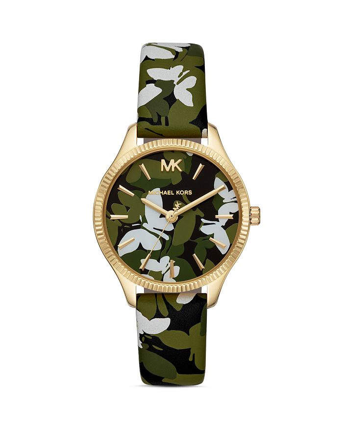 Michael Kors - Lexington Butterfly Printed Leather Strap Watch, 36mm