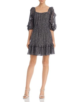 Rebecca Taylor - Block Vine-Print Square Neck Dress