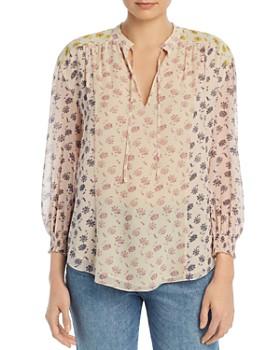da1c544b6b5 Joie - Tyla Color-Block Floral-Print Silk Blouse ...