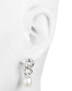 Carolee - Cultured Freshwater Pearl Link Drop Earrings in Sterling Silver