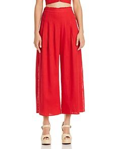 AQUA - Side-Button Wide-Leg Pants - 100% Exclusive