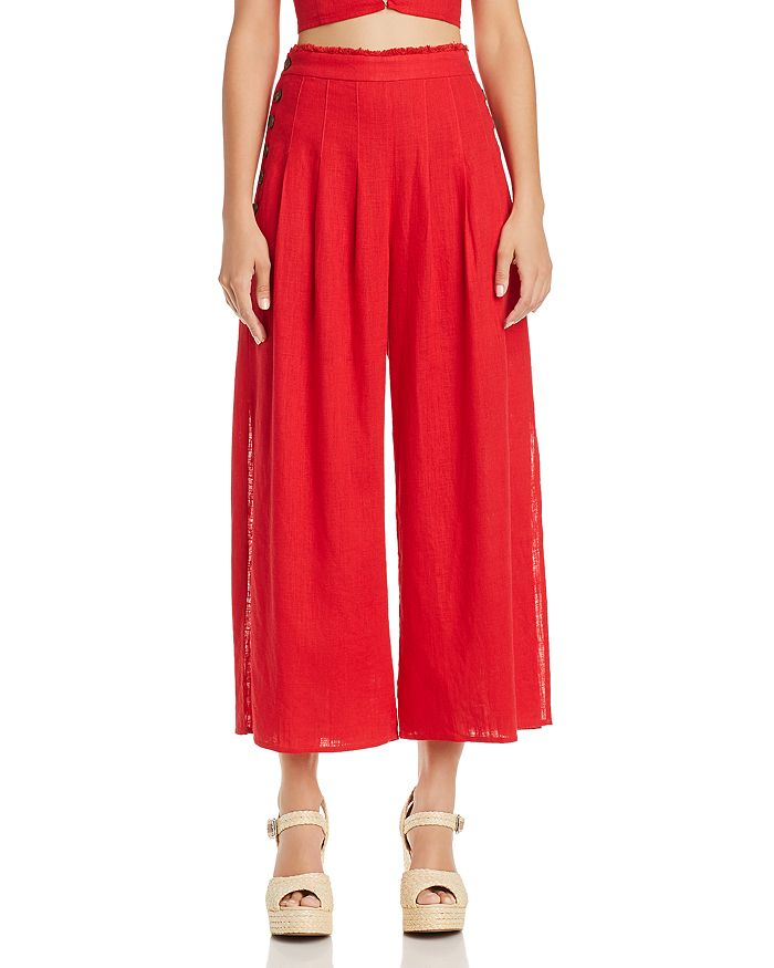 AQUA - Side-Button Wide-Leg Pants - 100% Exclusive