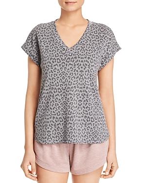 B Collection By Bobeau Tops B COLLECTION BY BOBEAU LEOPARD-PRINT FRENCH TERRY TOP