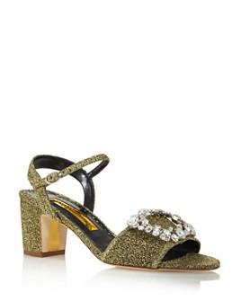 Rupert Sanderson - Women's Opal Metallic Block Heel Sandals