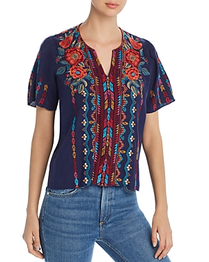 Johnny Was Tops ORNELLA FLUTTER-SLEEVE TOP