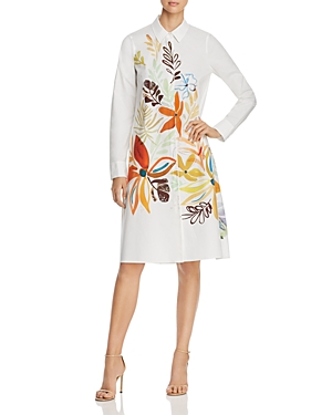 Lafayette 148 Dresses PORTO FLORAL-PRINT COTTON SHIRT DRESS