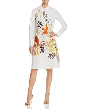 Lafayette 148 Dresses PORTO FLORAL-PRINT COTTON SHIRT DRESS