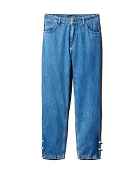 No Frills by Mother of Pearl - Faux Pearl Pierced Jeans in Stone Wash