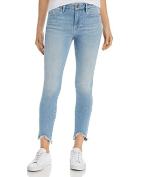 FRAME - Le High Triangle Raw-Edge Skinny Jeans in Floyd