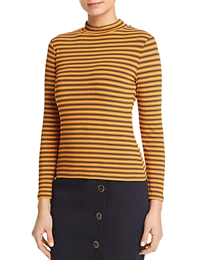 Karen Millen Knits STRIPED RIB-KNIT TOP- 100% EXCLUSIVE
